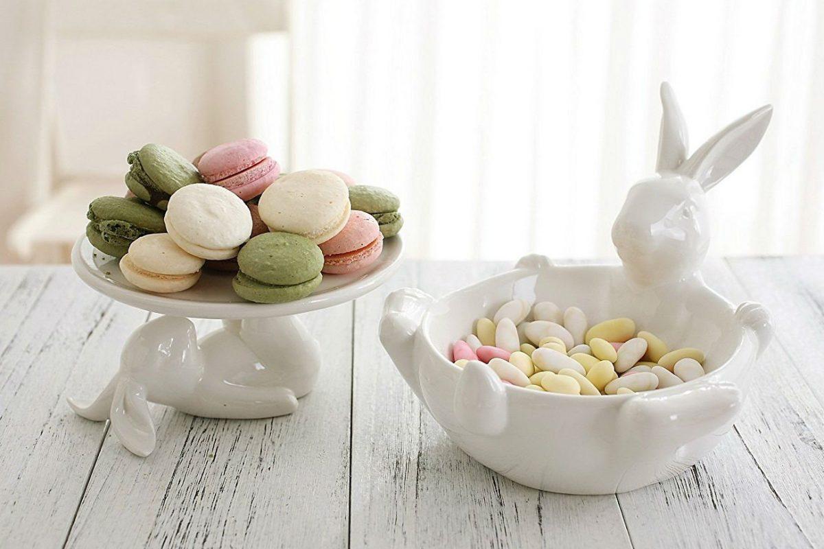 farmhouse decor easter bunny cake stand bowl